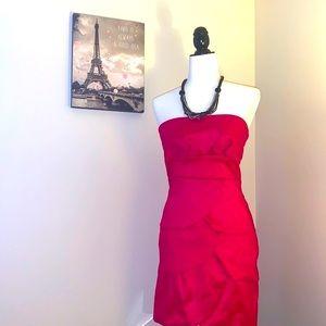 Pink strapless prom dress